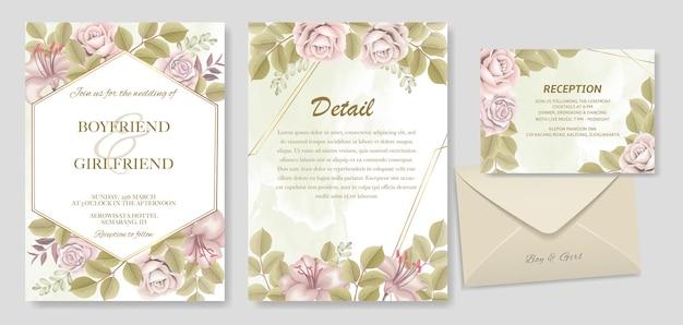 Mano elegante disegno disegno floreale invito a nozze