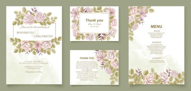 Disegno floreale dell'invito di nozze dell'illustrazione della mano elegante