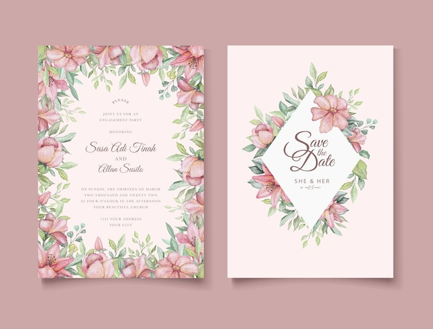 Elegante mano disegno invito a nozze floreale Vettore Premium