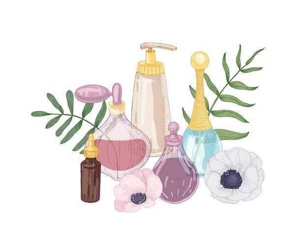 Composizione decorativa disegnata a mano elegante con profumo, olio essenziale in bottiglie di vetro e fiori che sbocciano isolati su bianco