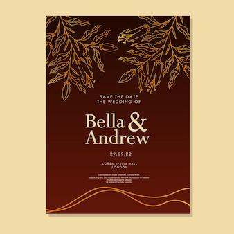 Elegante biglietto di invito di matrimonio di lusso floreale disegnato a mano