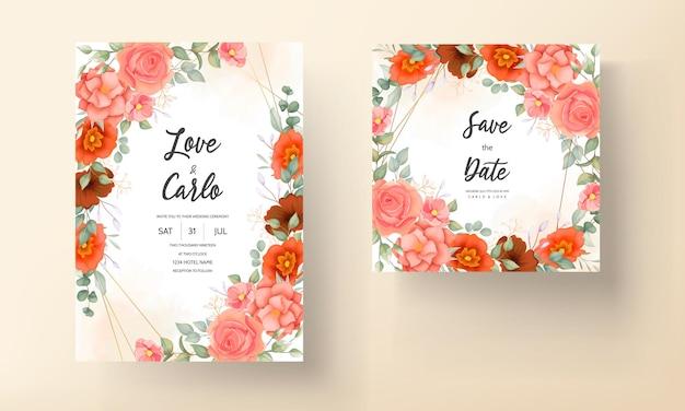 Carta di invito matrimonio floreale disegnata a mano elegante