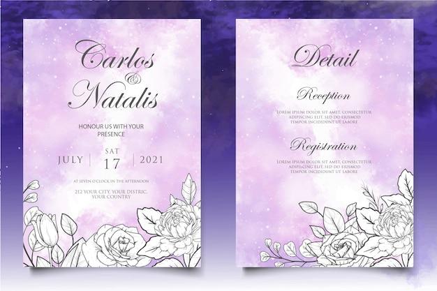Modello di invito matrimonio floreale disegnato a mano elegante