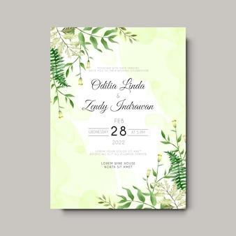 Modello di invito a nozze foglie disegnate a mano elegante