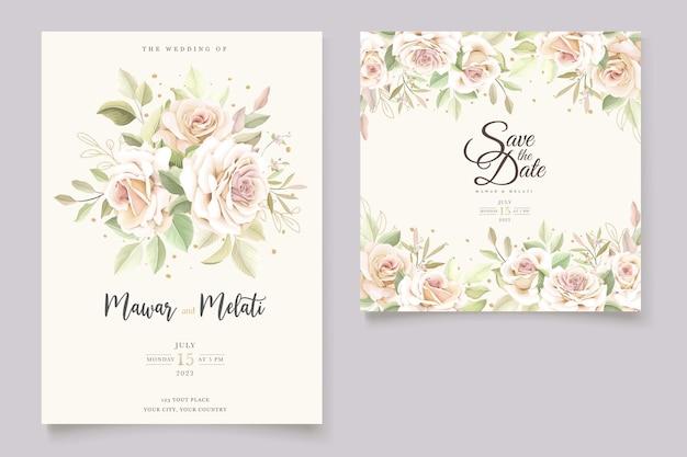 Elegante set di biglietti d'invito con rose disegnate a mano