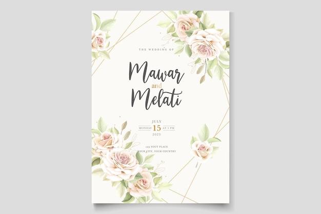 Elegante biglietto d'invito con rose disegnate a mano