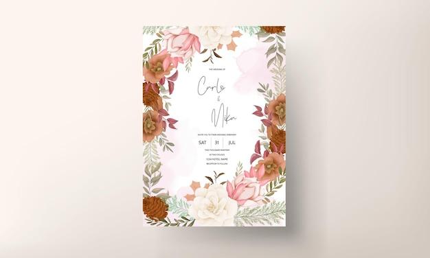 Elegante carta di invito a nozze floreale dolce disegnata a mano