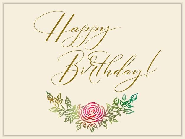 Elegante carta di buon compleanno con decorazioni floreali