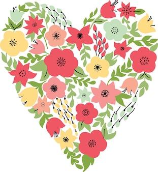 Cuore elegante con fiori gialli e rosa. invito a nozze o biglietto di san valentino