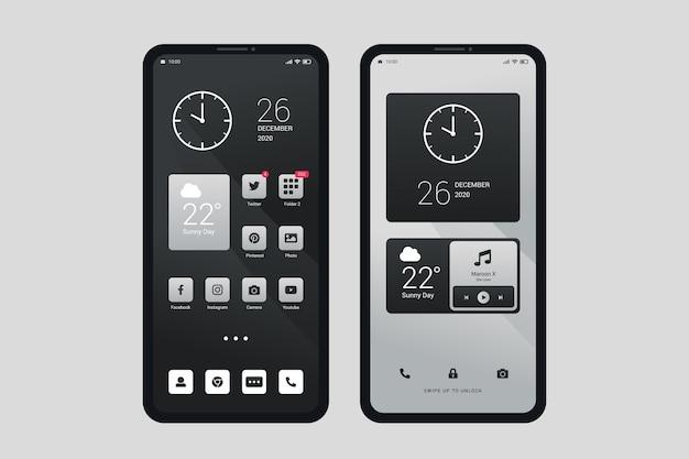 Elegante tema della schermata iniziale per smartphone