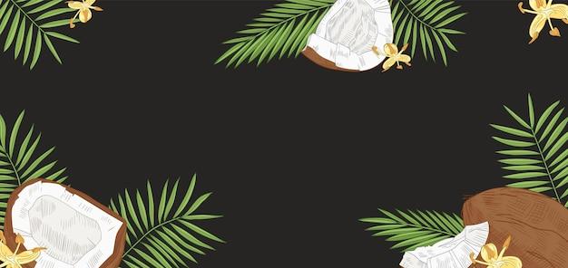 Elegante sfondo orizzontale con noci di cocco, foglie di palma e fiori su fondo nero