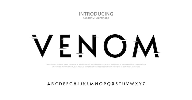 Elegante carattere alfabeto horror tipografia stile urbano