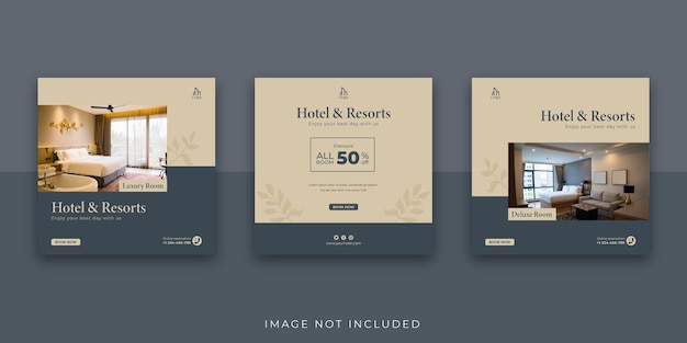 Elegante modello di post instagram per hotel e resort sui social media