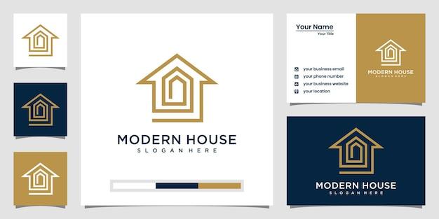 Elegante logo della casa con stile art line. home build per l'ispirazione del logo.