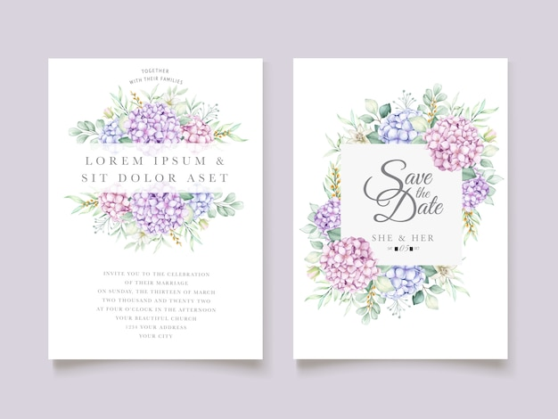 Elegante set di carte acquerello ortensie Vettore Premium