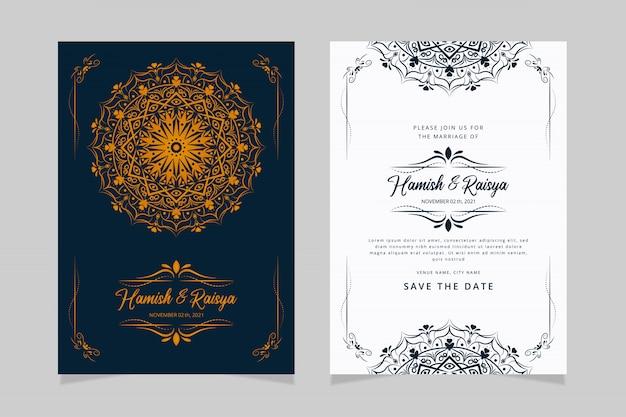 Design elegante modello di carta di invito matrimonio indiano