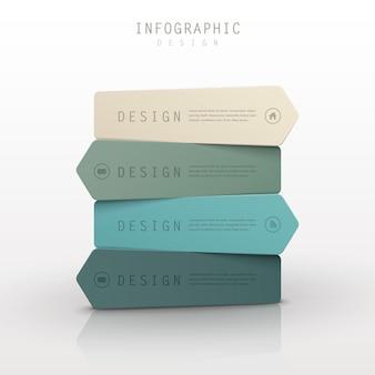 Design elegante del modello di infografica con una serie di etichette