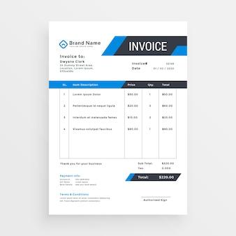 Design elegante modello di fattura per il tuo business in colore blu