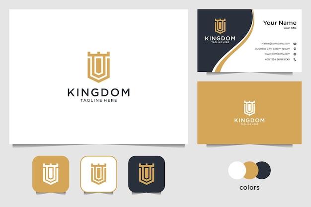 Elegante design del logo del regno e biglietto da visita