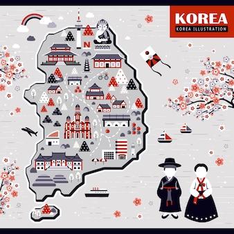 Design elegante mappa di viaggio corea con punti di riferimento