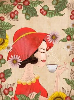 Elegante signora in abito rosso sta bevendo una tazza di caffè, foglie stile incisione e cornice di ciliegie di caffè