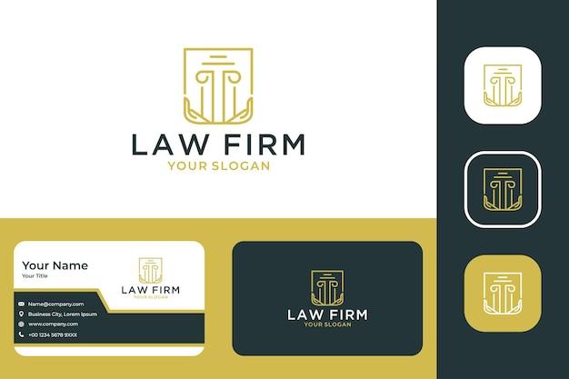 Giustizia elegante dello studio legale con il design del logo e il biglietto da visita dell'arte della linea a mano