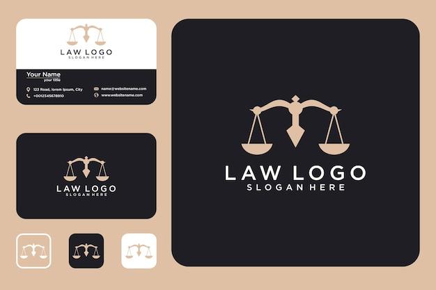 Elegante design del logo della legge e biglietto da visita