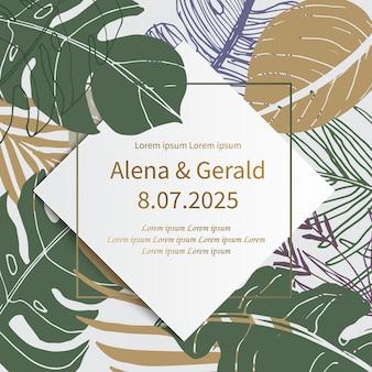 Elegante modello di invito a nozze di fidanzamento in stile arte linea foglia