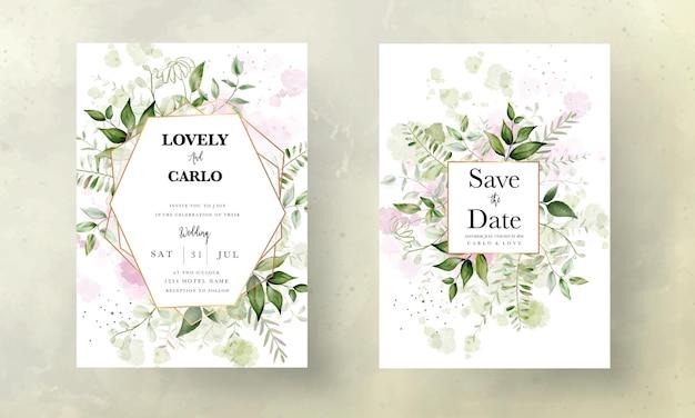 Invito a nozze acquerello con foglie eleganti con sfondo acquerello splash