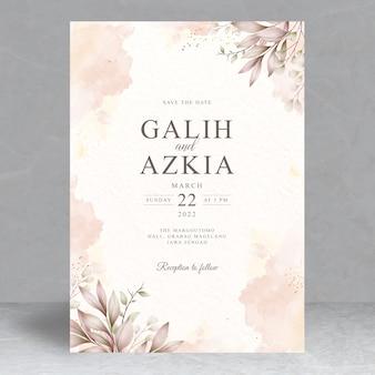 Modello di carta di invito matrimonio foglie eleganti
