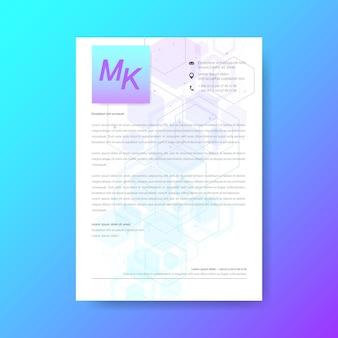Design elegante del modello di carta intestata in stile minimal. sfondo astratto strutture molecolari esagonali in background tecnologico e stile scientifico. design medico