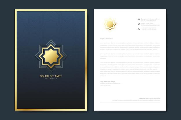 Design elegante modello di carta intestata in stile minimalista con logo.