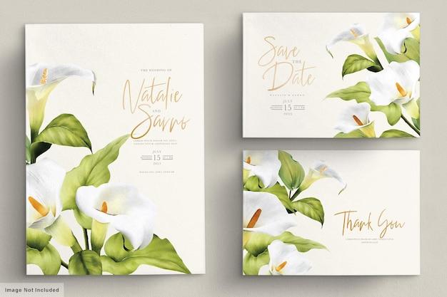 Elegante set di carte di nozze giglio