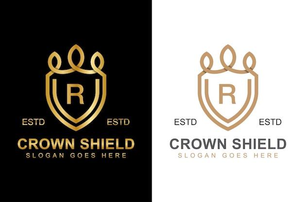 Elegante linea arte corona e scudo logo con la lettera iniziale r logo design due versioni