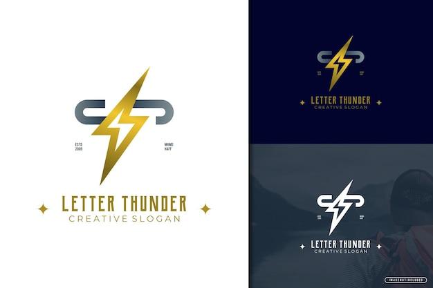 Elegante logo lettera t con tuono