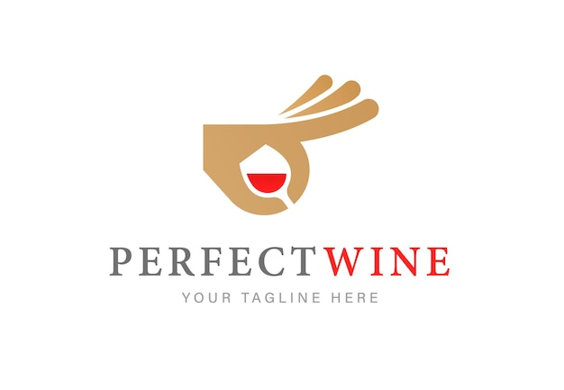 Logo elegante con bicchiere di vino rosso e gesto della mano ok