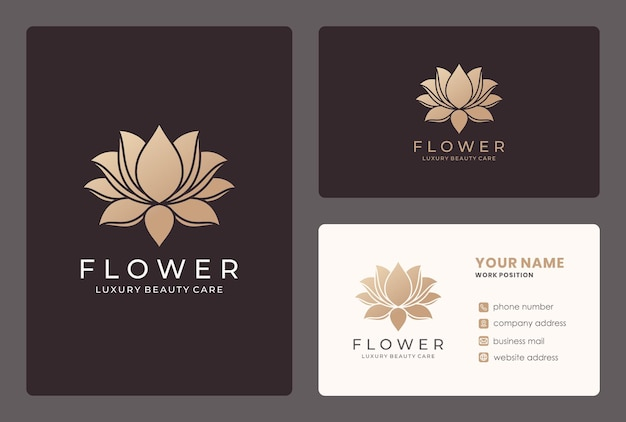 Elegante fiore di loto, cosmetici naturali, design del logo del salone di bellezza con modello di biglietto da visita.