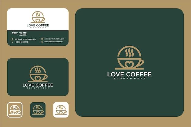 Elegante design del logo del caffè d'amore