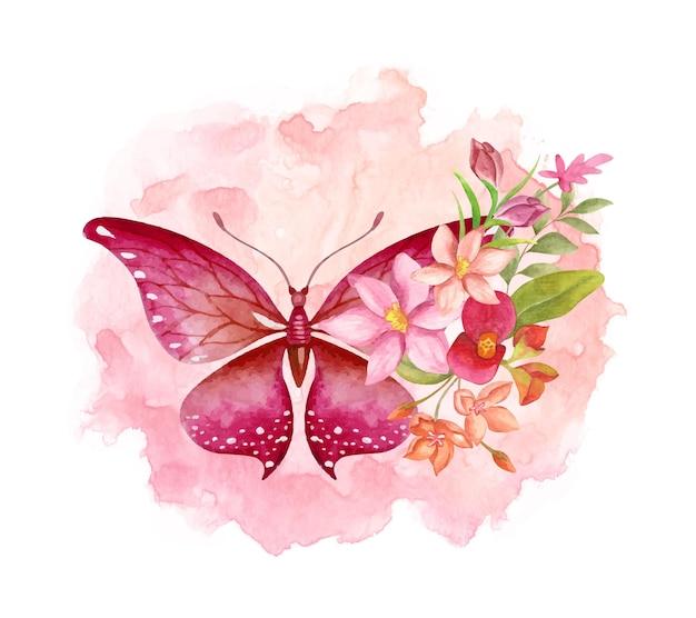 Elegante decorazione di ornamenti floreali adorabili con farfalla