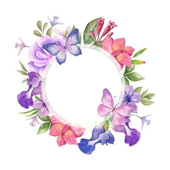 Elegante e graziosa cornice floreale ad acquerello con bellissime farfalle blu e viola