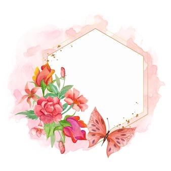 Elegante bella cornice floreale ad acquerello con farfalla