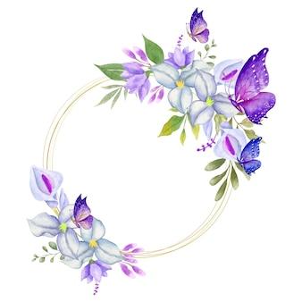 Elegante cornice floreale primaverile acquerello adorabile