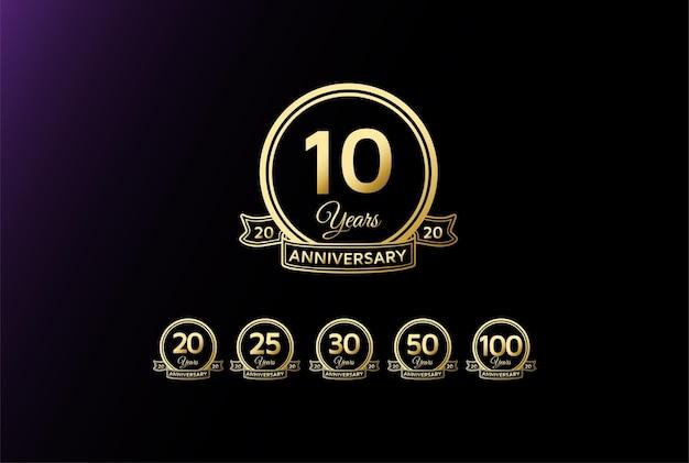 Elegante lusso 10 20 25 30 50 75 100 anni anniversario logo design vector