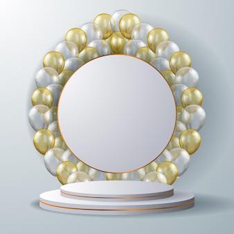 Espositore da palco per podio con piedistallo cilindrico 3d di lusso elegante con palloncini bianchi e dorati