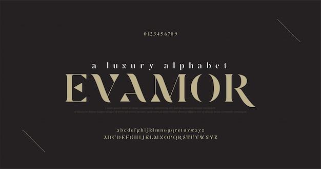 Carattere e numero di lettere di lusso eleganti di alfabeto. disegni classici di moda minimale.