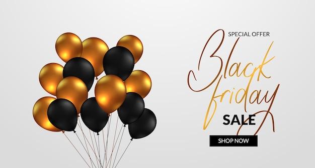 Banner di lusso elegante per la vendita del venerdì nero offre sconti con palloncini dorati e neri 3d volanti
