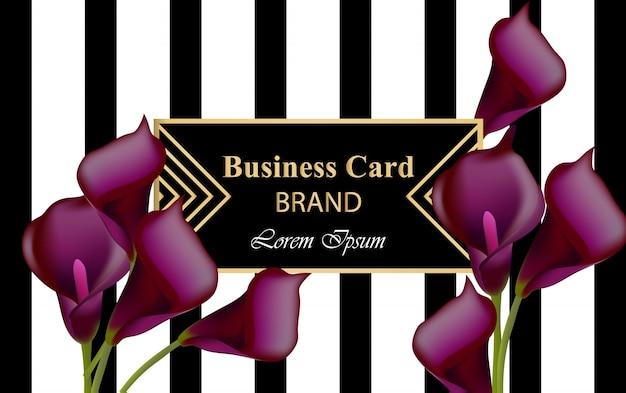 Elegante biglietto da visita di lusso con fiori calla illustrazione vettoriale. astratto sfondo nero