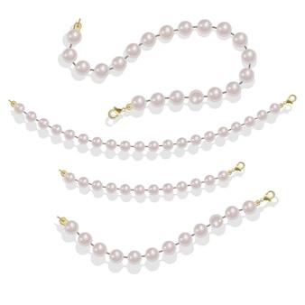 Elegante decorazione di lusso femminile con illustrazione di perle di perle bordi glamour di perle.