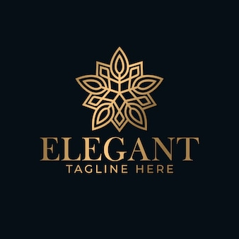 Modello di progettazione di logo mandala piatto elegante e di lusso per spa e massaggi.