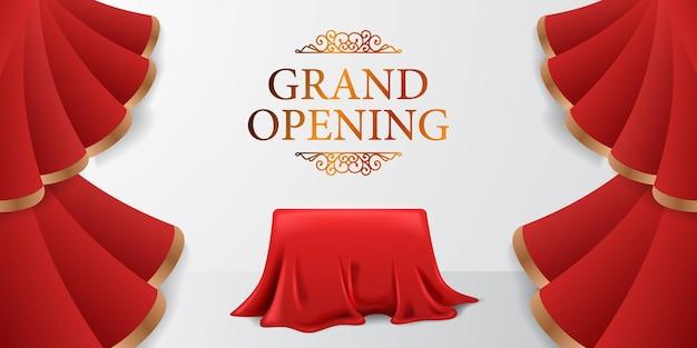 Elegante striscione per poster di grande apertura di lusso con onda di tenda di seta rossa aperta con illustrazione di scatola di copertura in tessuto con sfondo bianco e testo dorato